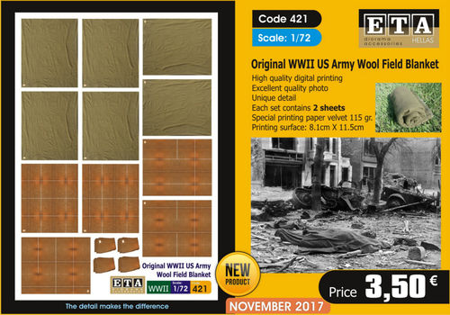 Original WWII US Army Wool Field Blanket 1/72