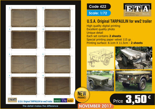USA Original Tarpaulin for WWII trailer 1/72