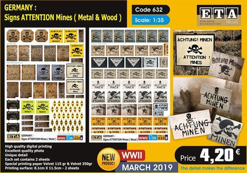 WWII Germany Signs Attention Mines 1/35