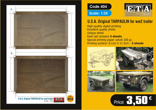 USA Original Tarpaulin for WWII trailer 1/35