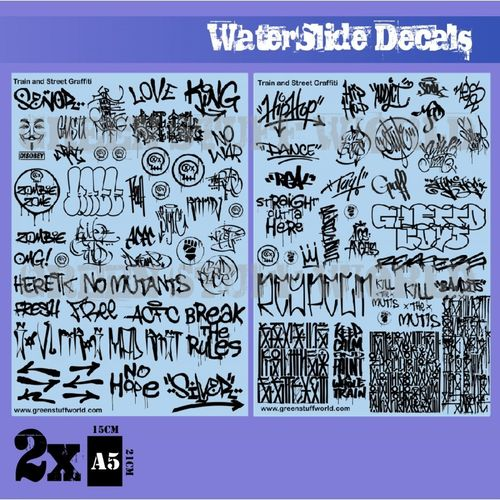 Waterslide Decals - Train and Graffiti Mix - Black (1/58-1/54-1/32)